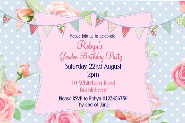 personalised vintage afternoon tea garden party birthday invitations