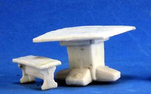 1x TABLE BANCS -BONES REAPER figurine miniature mobilier furniture benches 77319