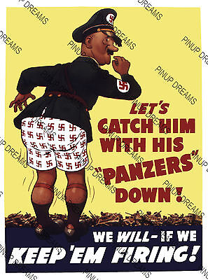 "Vintage Wartime Poster WW2 ""Lets Catch Him With His Panzers Down""re-print A4, A3"