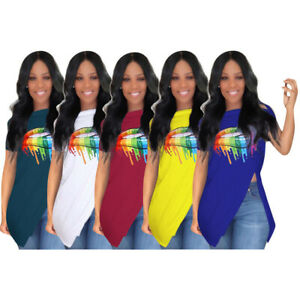 Women-short-sleeves-zipper-design-colorful-lips-print-casual-club-tops-shirts