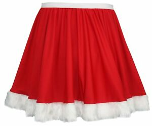 Ladies-Red-Santa-Claus-Full-Circle-15-034-Skater-Skirt-with-White-Faux-Fur-Trim
