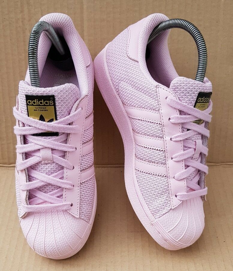 promo code 70cdc a5756 ADIDAS SUPERSTAR BABY Rose WEAVE Taille 3.5Doré LOGO EXCELLENT CONDITION