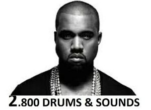 Kanye west 2,800 drum sound kit hip hop drum samples mpc reason.
