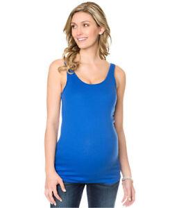 b657b0fdadd5b Image is loading Motherhood-Maternity-Tank-Top-Cotton-Rib-Knit-Blue-