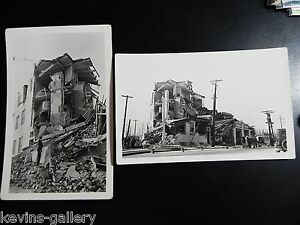 LONG BEACH CA California Calif EARTHQUAKE RPPC Real Photo 1933 Postcard Lot Cars