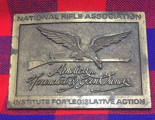 National Rifle Association NRA Brass Belt Buckle America Founded by Fun Owners