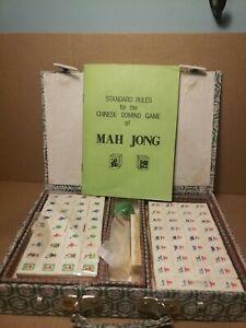 Vintage-Miniature-Mah-Jong-Chinese-Domino-Game-Set-In-Green-Silk-Case
