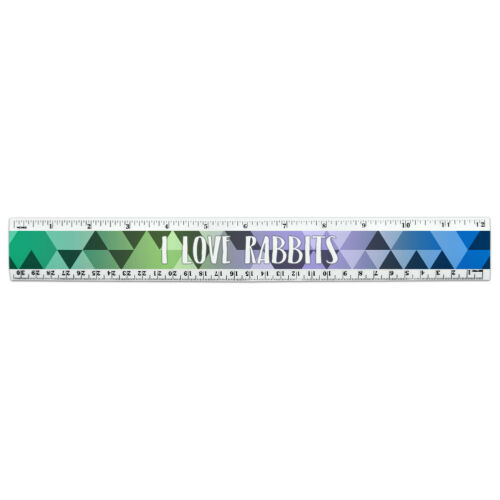 12 Inch Standard and Metric Plastic Ruler I Love Heart Animals P-S