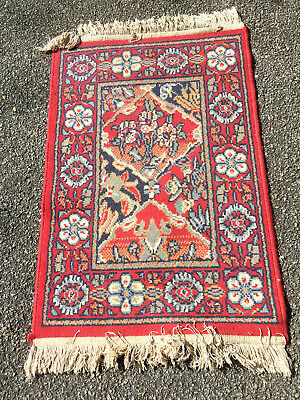 Vintage Floral Hand Hooked Rug Red Blue 35 X 23 5 Ebay