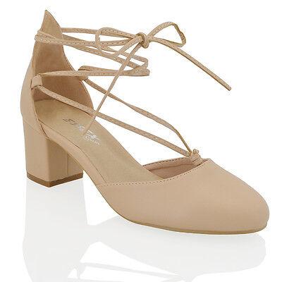Para mujeres Con Cordones Tacón Bajo Tobillo Zapatos puntera estrecha Damas Tribunal Zapatos Talla 3-8