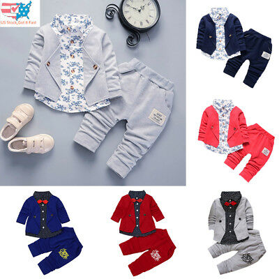Toddler Kid Baby Boy Tuxedo Suit Gentry Party Christening Wedding Clothes Set US