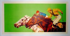 Vintage Color Lithograph Horse Race Poster on Linen