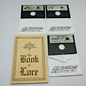 Ultima-V-Warriors-of-Destiny-Discs-1-3-4-amp-Buch-von-Lore-Origin-Lord-British-PC
