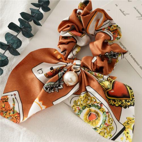 Boho Print Pearl Ponytail Scarf Hair Scrunchies Set Elastic Hair Bands Hair Rope