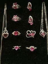 ❤Kay Jewelers Plus Other 10 Pc.Heart Sterling Silver Ruby,Pink Topaz Lot❤