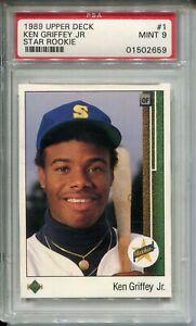 1989 Upper Deck Baseball #1 Ken Griffey Jr Rookie Card RC Graded PSA MINT 9