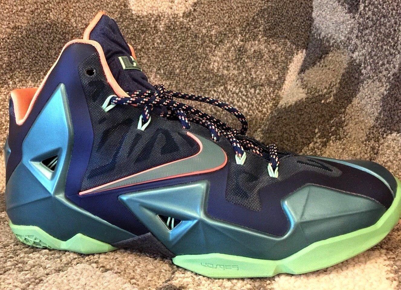 Nike Lebron XI Akron vs. Miami Brave Blue/Mineral Teal Size 9 CLEAN! 616175-400