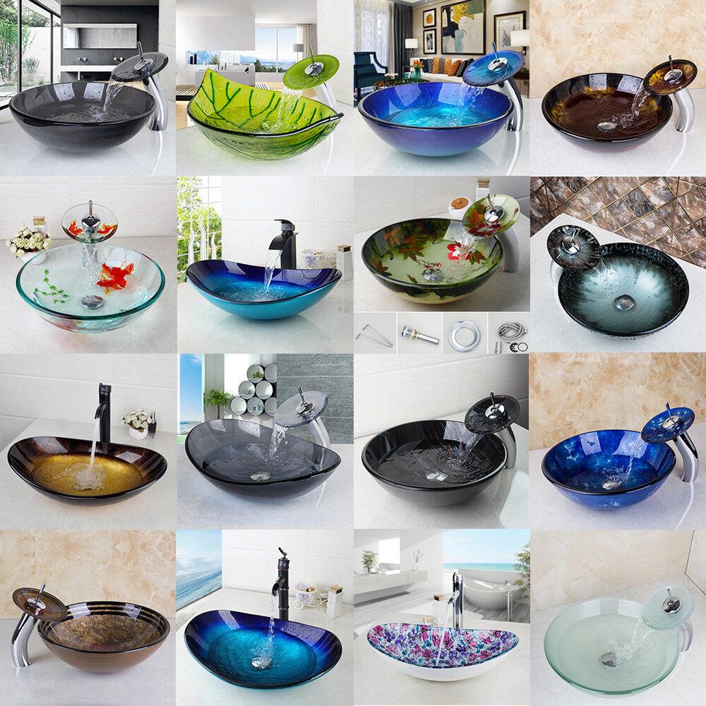 Salle de bains ronde ovale verre bassin bol Récipient Bateau coule Mélangeur Robinet Tap Set