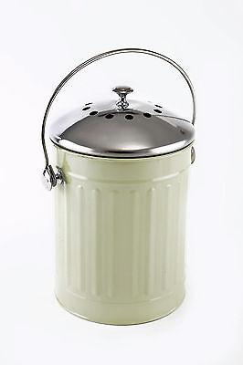 Eddington Sage Green Deluxe Compost Pail Bin Bucket Caddy Indoor Recycle Worktop