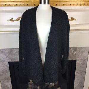 WHBM-XL-Gray-Long-Sleeve-Acrylic-Blend-Asymmetric-Drape-Open-Cardigan-Sweater