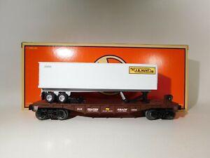Lionel-O-Gauge-Flatcar-With-JB-Hunt-Trailer-6-26954-C-129