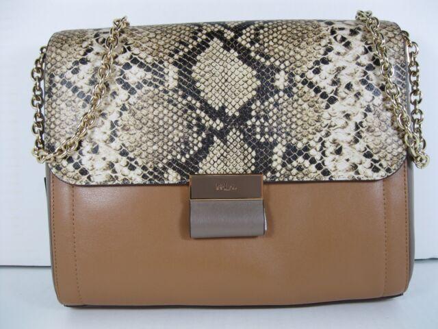 e5e76c93fb LAUREN Ralph Lauren  268 NWT Lynwood Jude Shoulder Bag Snakeskin Caramel  Leather
