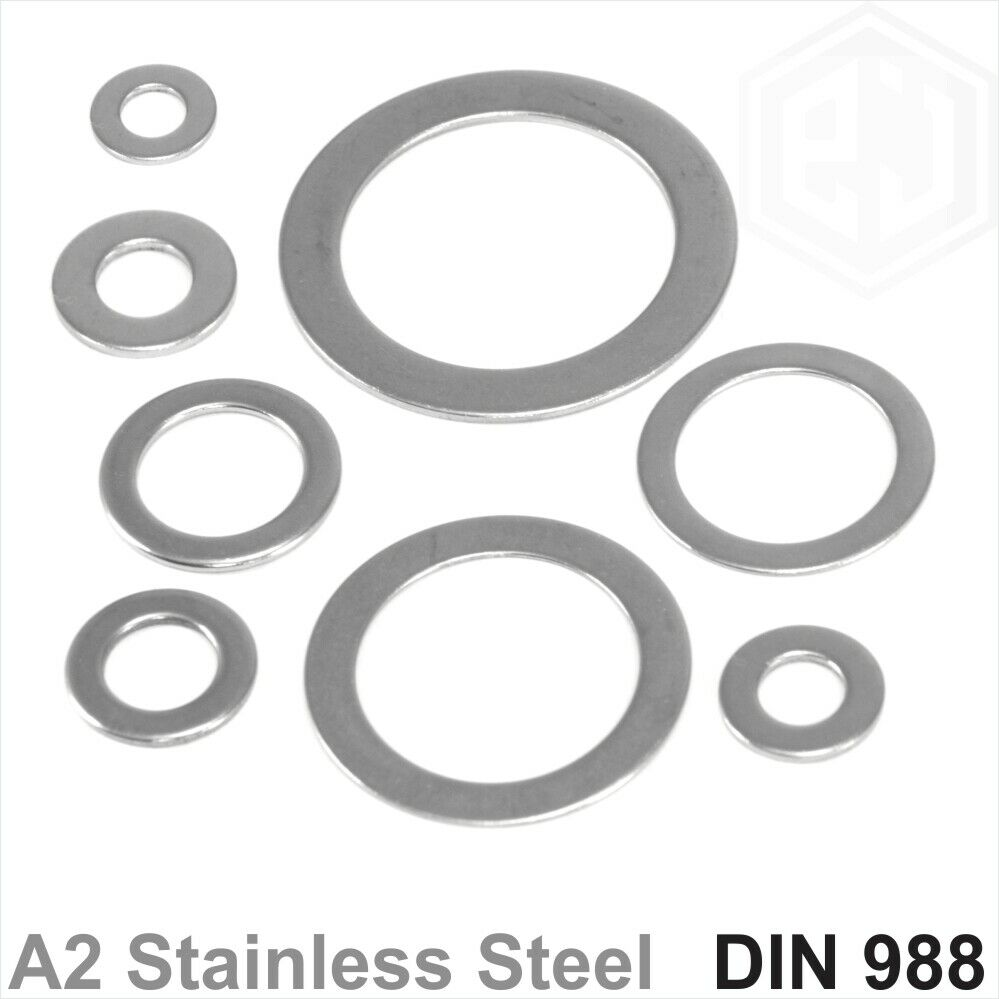 A2 Stainless Steel Shim Washers Flat Shims Thick 0.1 0.2 0.25 0.5 1 2mm DIN 988