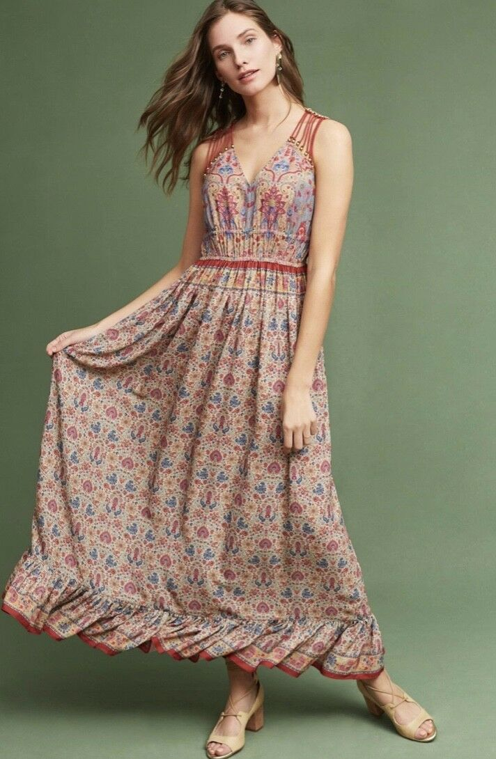 NEW Ranna Gill rot Blau tan Floral Strappy Bought at Anthropologie Dress 6