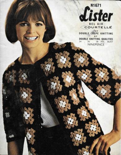 para mujer Chaqueta de abuela Cuadrado REPRO Vintage Lister N1671 1970s patrón de ganchillo