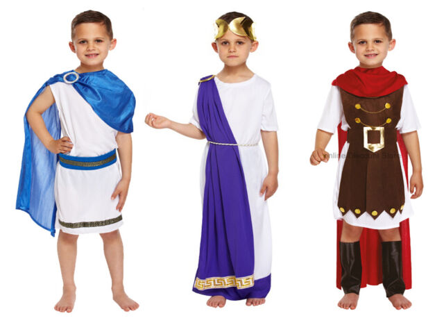 Roman Emperor Historic Fancy Dressing Up Costume History Caeser Boys King Toga