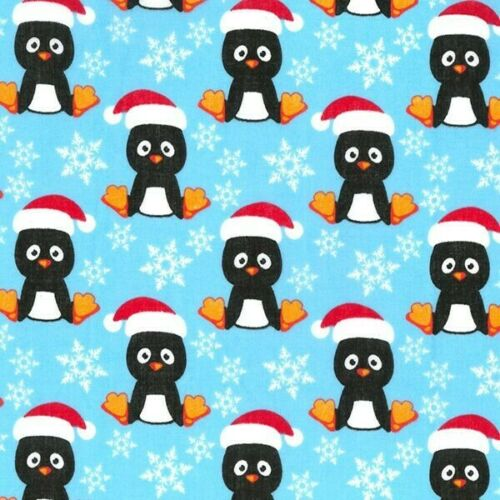 Polycotton Fabric Penguins Wearing Christmas Hats Xmas Snowflake Craft Material