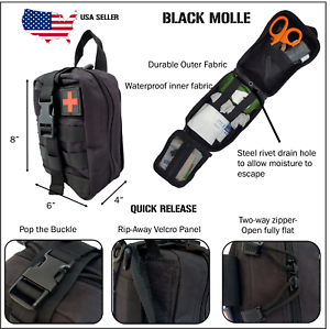 NEW Tactical MOLLE First Aid IFAK Trauma Kit- Black stop the bleed