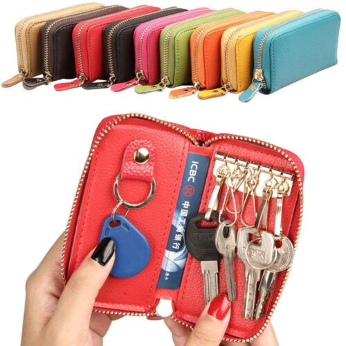 Zipper Car Key Genuine Cow Leather Chain Ring Coin Purse Wallets Bag Holder