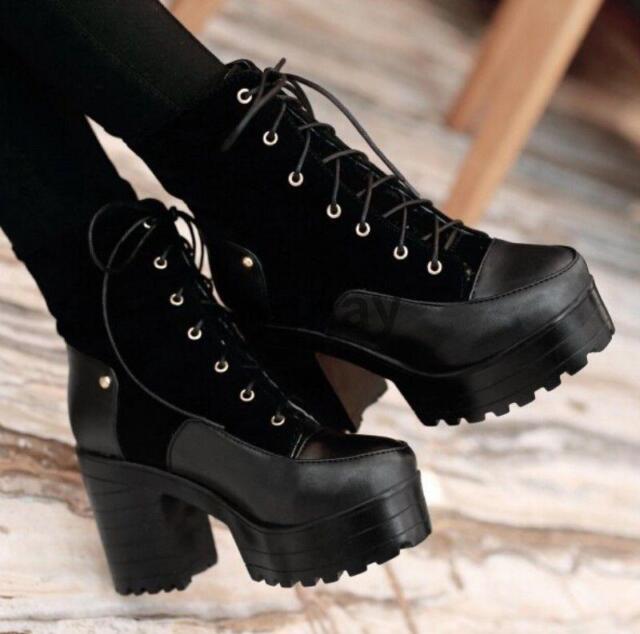 Womens Platform High Heel Block Cut Out Rivet Punk Chunky Ankle Boots Shoes Hot@