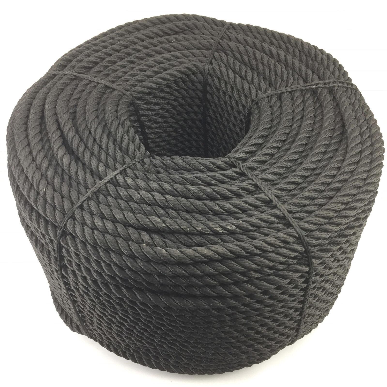 12MM Schwarz 3-Strang Multifilament x 45 m (schwimmende Seil) Softline Seil