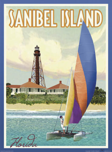 Sanibel Island FL Vintage Art Deco Style Travel Poster-by Aurelio Grisanty