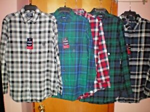 NWT-NEW-mens-CHAPS-wicking-performance-flannel-soft-cotton-casual-shirt-55
