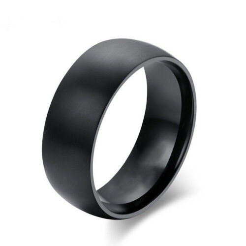8mm Fashion Stainless Steel Band Men/'s//Women/'s Wedding Ring Acc Black Size 8-11