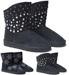 NEW LADIES BLACK WARM SLIPPER BOOTS