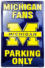 """Michigan Wolverines Fan Parking Only 12"""" x 18"""" Metal Sign Man Cave USA SHIPPER"""