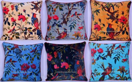 Indian Vintage Pillow Case Bird Of Paradise Velvet Cushion Cover Throw 16 by 16