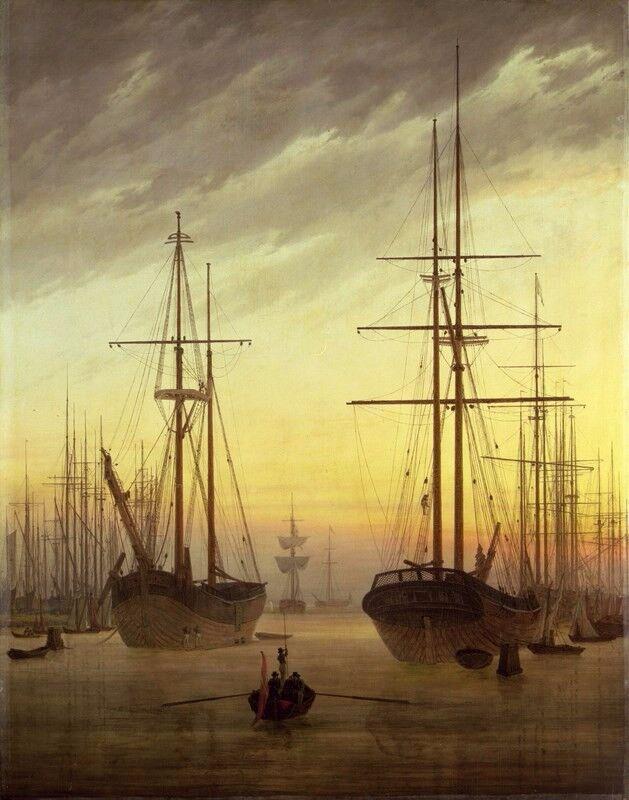 ZEIT4BILD CASPAR DAVID FRIEDRICH Ansicht eines Hafens Hafen BILDER LEINWAND Kunst