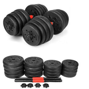 New-Weight-Dumbbell-Set-64-LB-Adjustable-Cap-Gym-Barbell-Plates-Body-Workout
