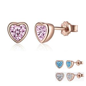 925-Sterling-Silver-CZ-Heart-Ear-Stud-Earrings-Rose-Gold-Plated-Wedding-Jewelry