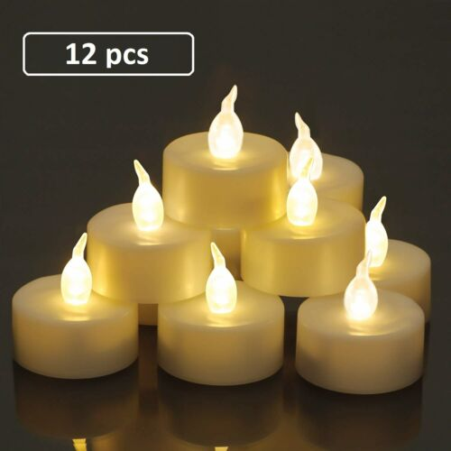 12pcs Led Tea Lights with Switch Battery Operated Flickering Flameless Candles