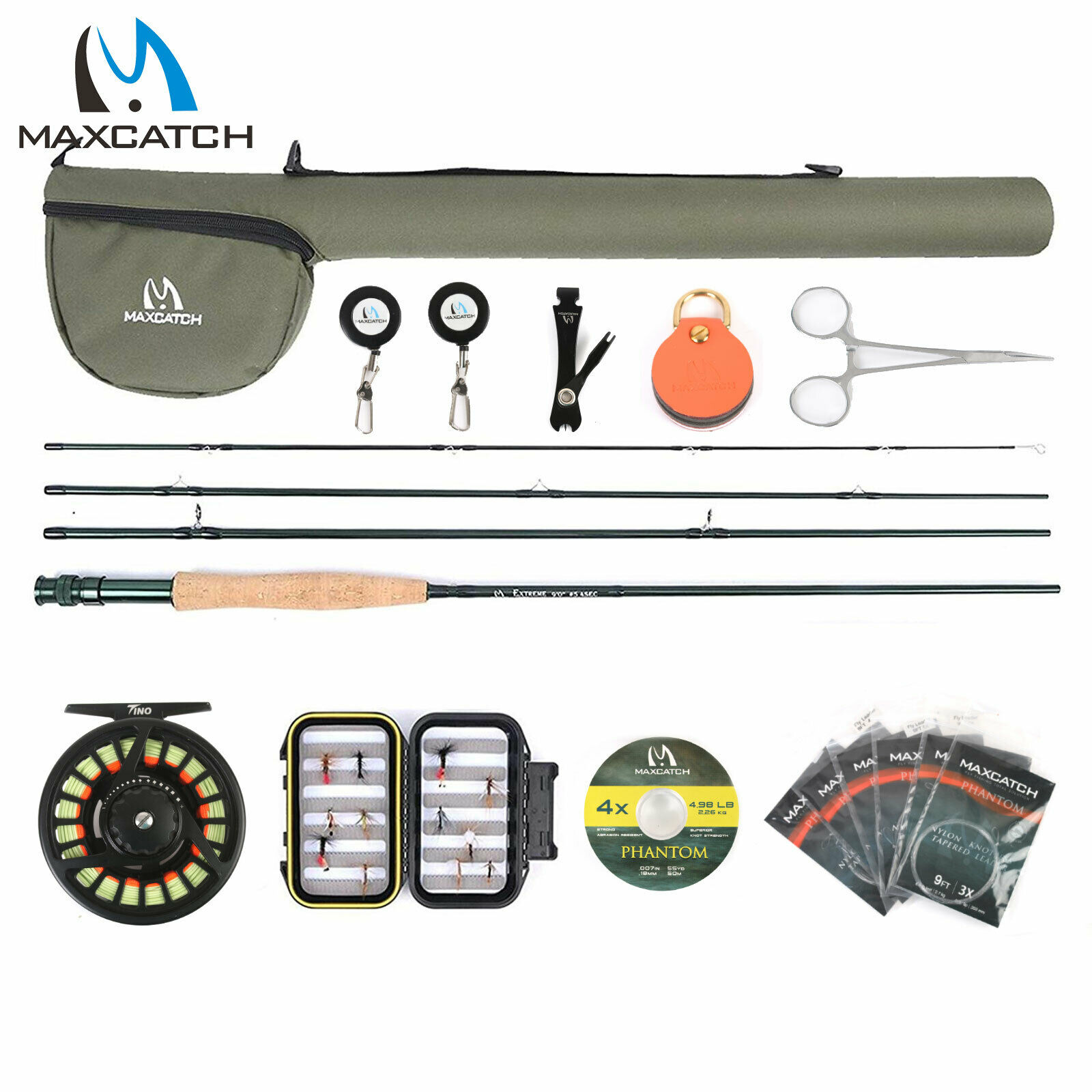 Maxcatch 5 6 7 8wt Extreme Fly Fishing Rod and Reel Combo, ligne Mouche, boîte, mouches