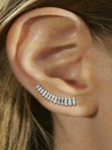 Gorgeous Baguette Ear Cuff High Fashion Earring Solid Sterling Silver Woman Gift