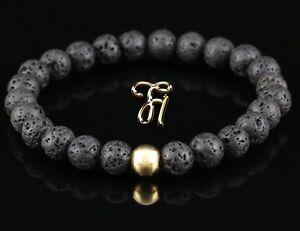 Lava-925er-sterling-Silber-vergoldet-Armband-Bracelet-Perlenarmband-schwarz-8mm