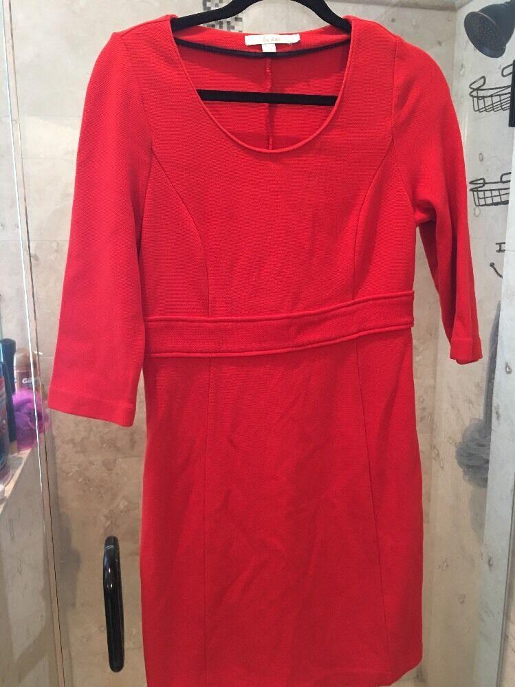Boden Red orange  Sixties Textured  Dress Size 10 R