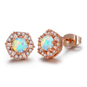 Rose-Gold-Plated-925-sterling-Silver-Flower-Style-white-Fire-Opal-Stud-Earrings